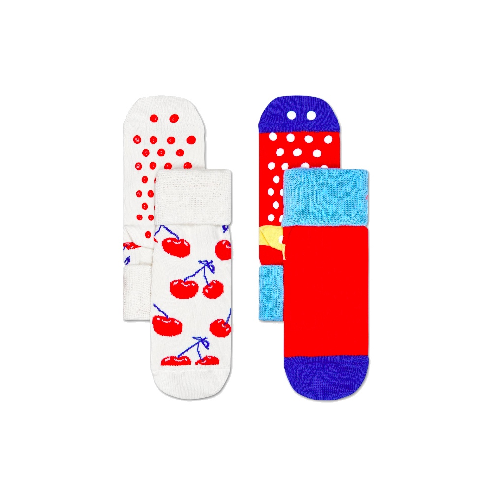 HAPPY SOCKS 兒童防滑襪 櫻桃兩件組(共2種尺寸)