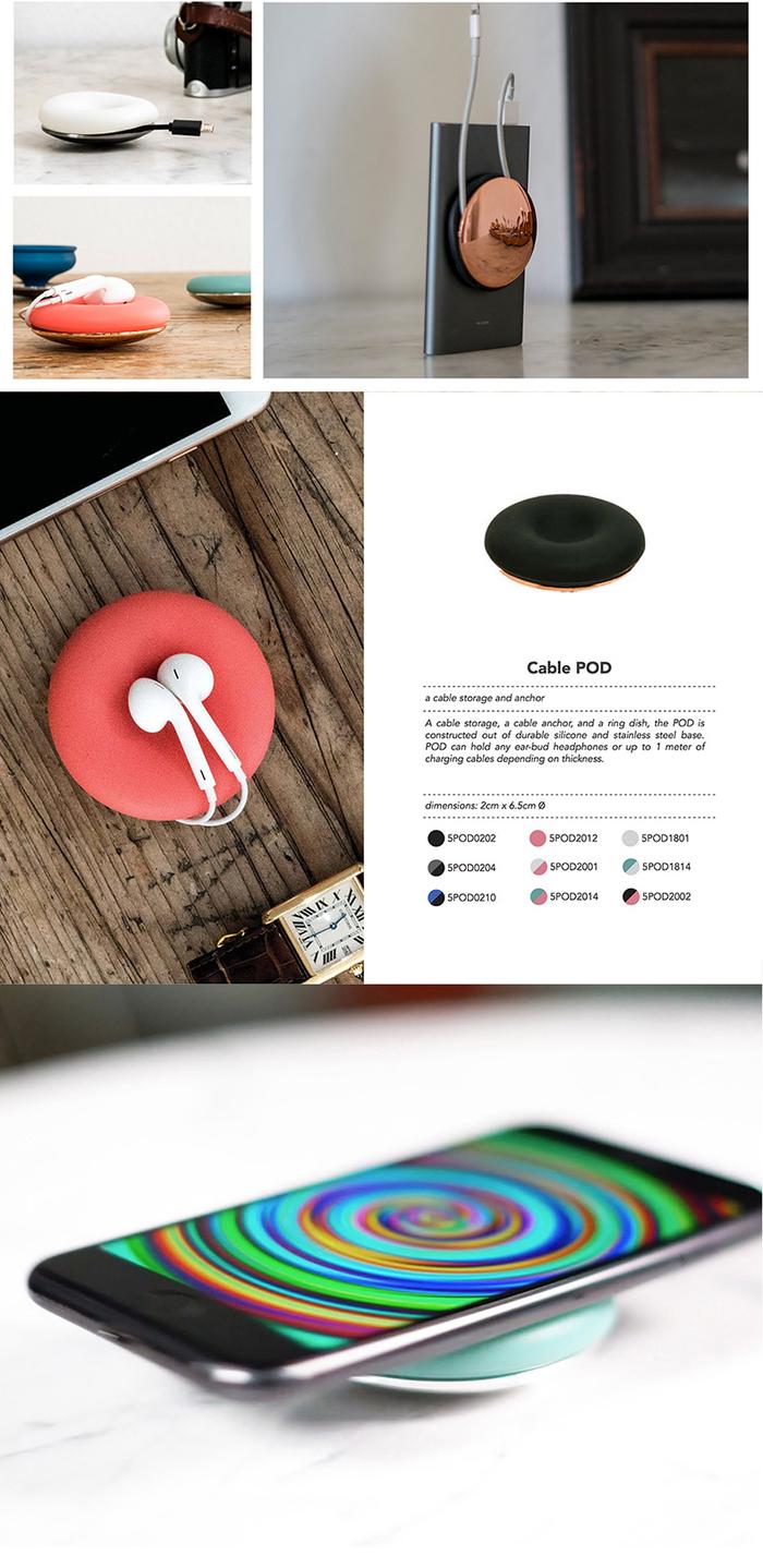 【集購】德國 POD |極簡時尚 數據線 充電線 耳機線 完美收納整理集線器(9色)