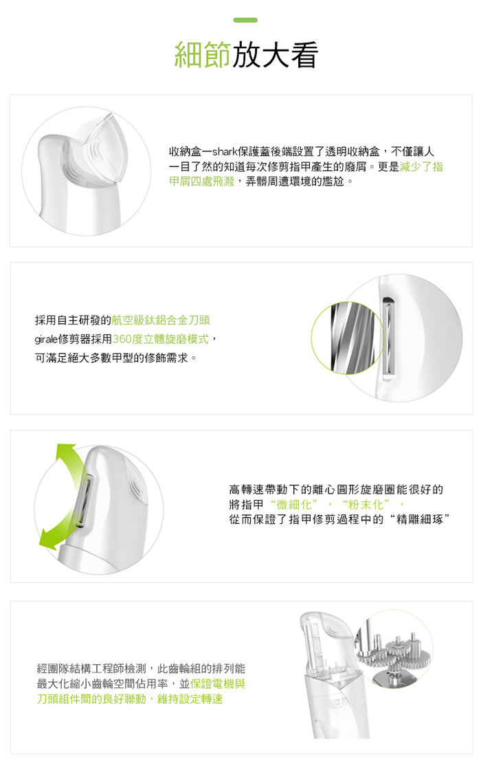 【集購】香港 VANRRO 世界首款成人 家用全方位智能 360°電動指甲剪(3色)