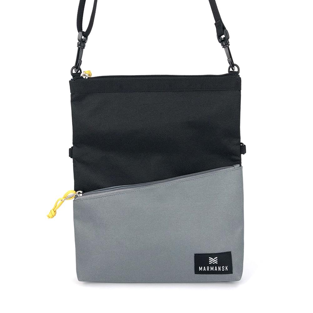 Marmansk  LOVOZERO 超薄輕便摺疊隨身側背包 (Black & Grey)