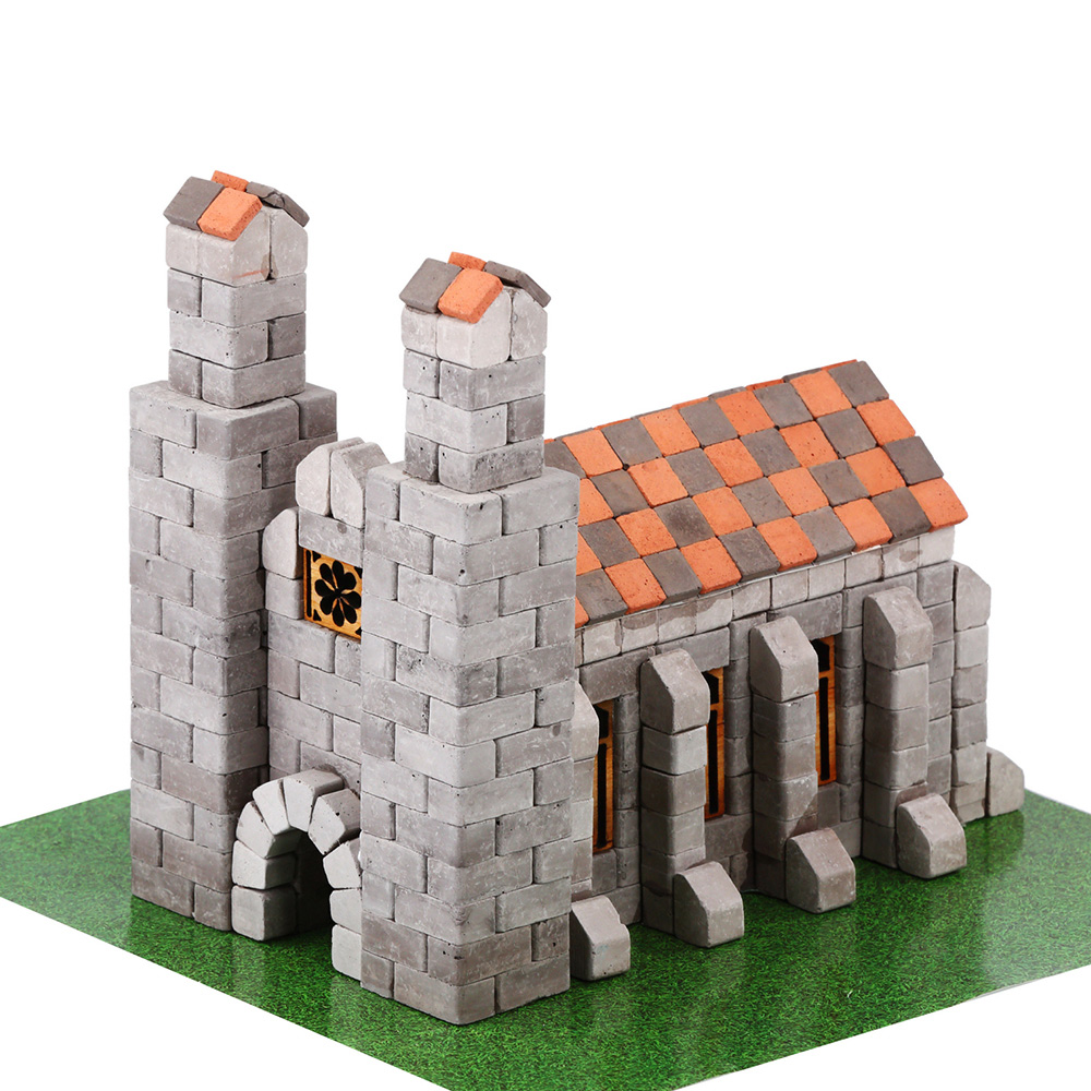 WISE ELK 天然陶瓷磚建築套裝 - 德國教堂 500片