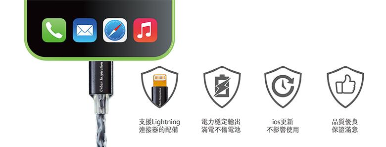 Crystal 韌意編|充電傳輸線 Lightning 1.2M・(蜜桃粉)