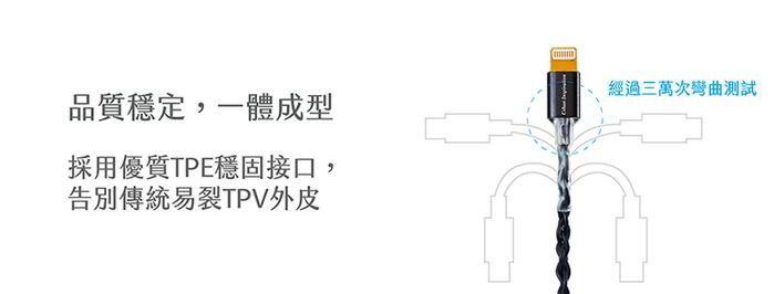 UI 韌意編 Lightning 充電線 時尚黑 1.2M