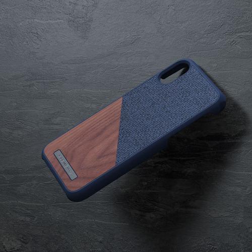 Nordic Elements iPhone 北歐雙材質設計手機殼・Frejr (軍艦藍核桃)
