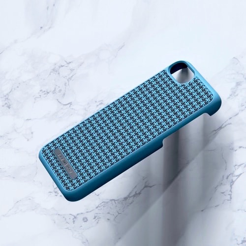 Nordic Elements iPhone 北歐布藝設計手機殼・Idun (千鳥紋-藍綠)