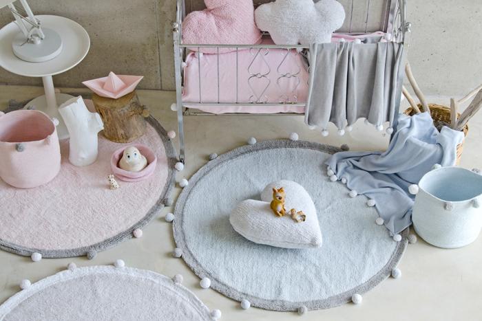 Lorena Canals|pompom毛球圓毯(杏桃粉)