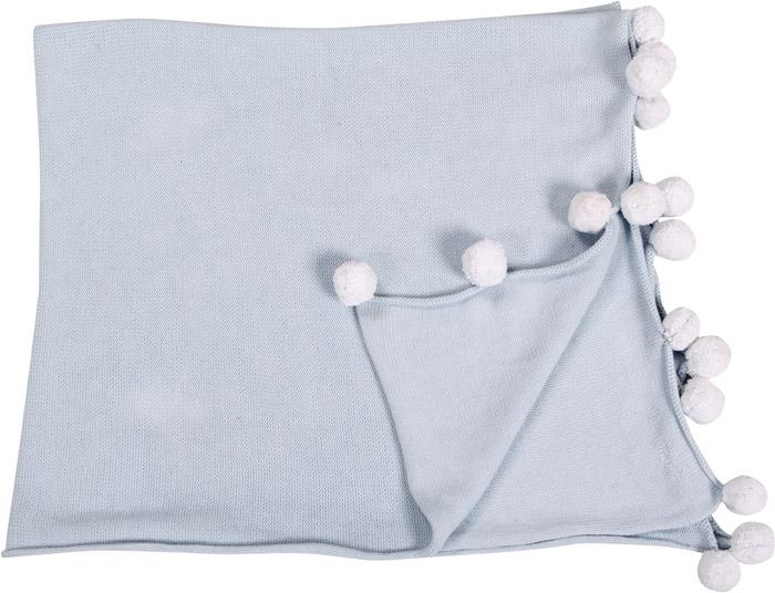 Lorena Canals|pompom毛球柔舒萬用被毯(蘇打藍)