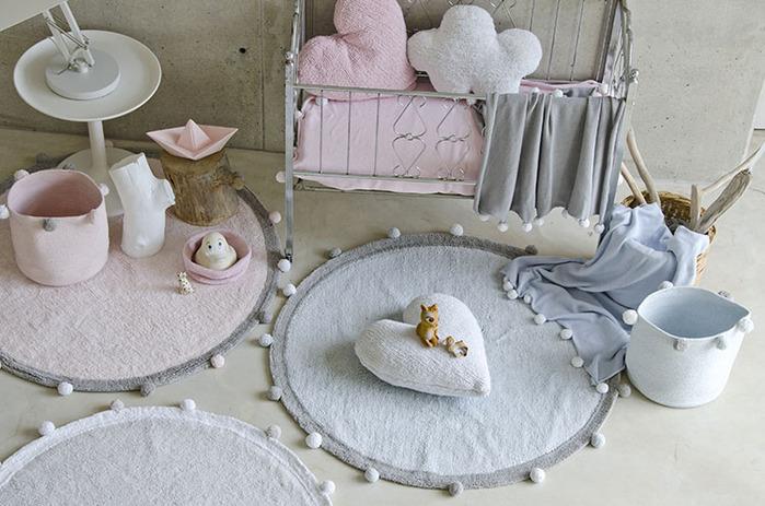 (複製)Lorena Canals 柔麗紡|pompom毛球圓毯(蘇打藍)