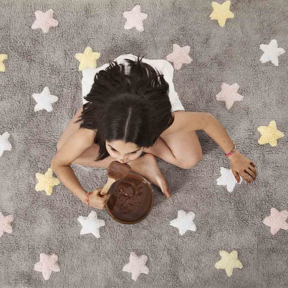 Lorena Canals 柔麗紡 小星星合奏曲地毯-銀河三色星(粉)