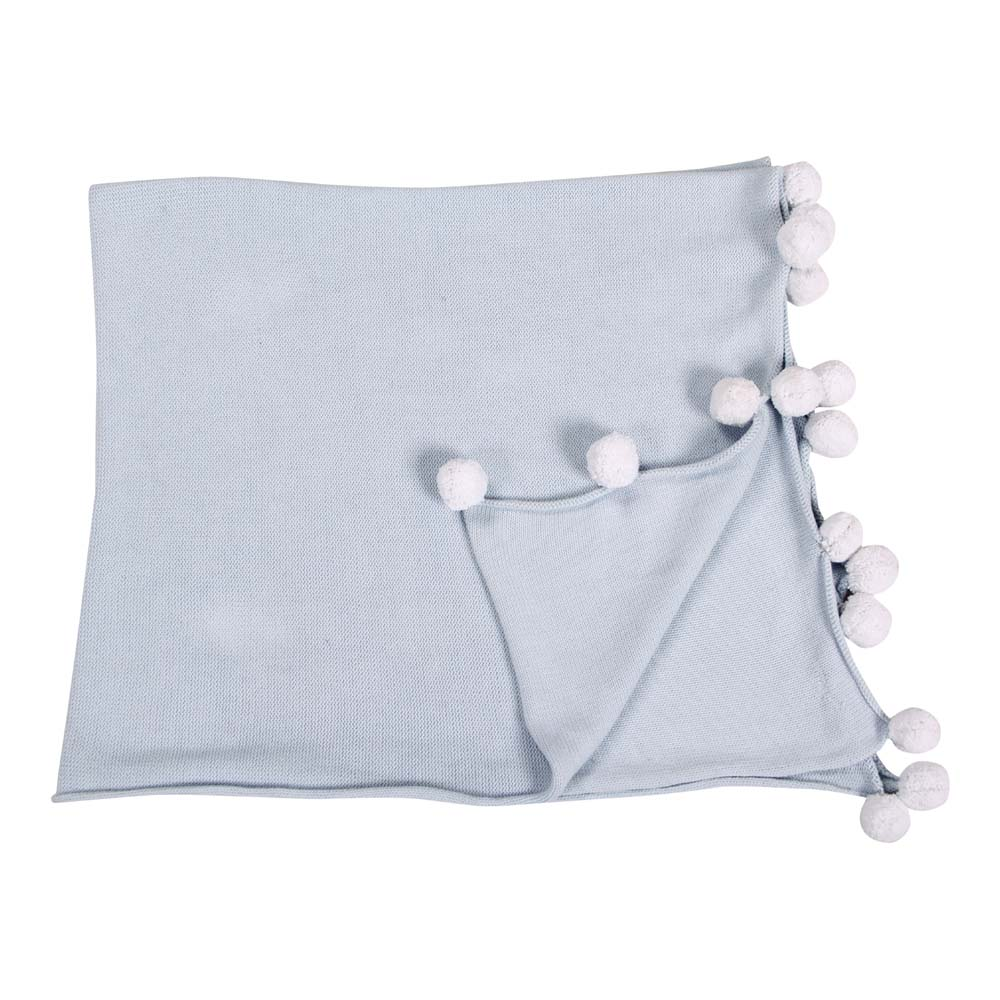 Lorena Canals 柔麗紡|pompom毛球柔舒萬用被毯(蘇打藍)