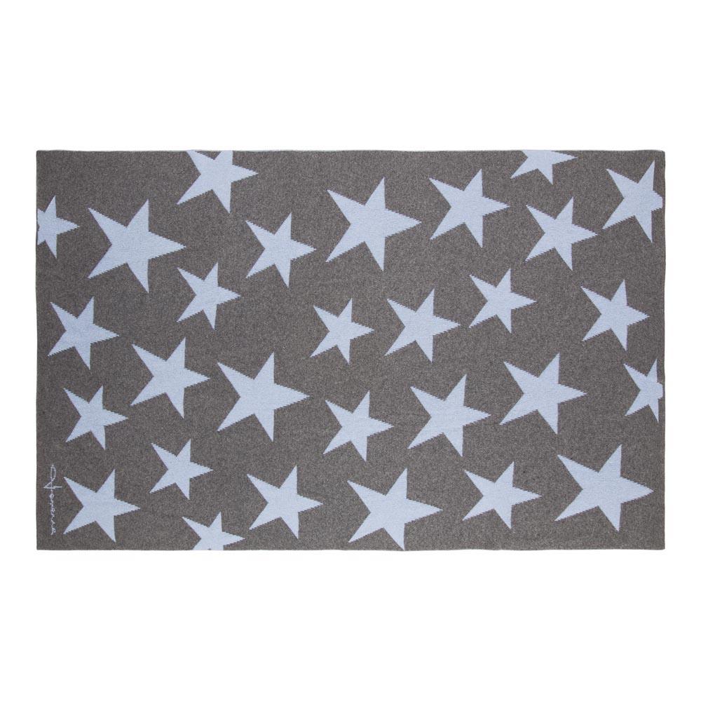 Lorena Canals 柔麗紡|羊毛雙面蓋毯-搖滾星星(藍灰)