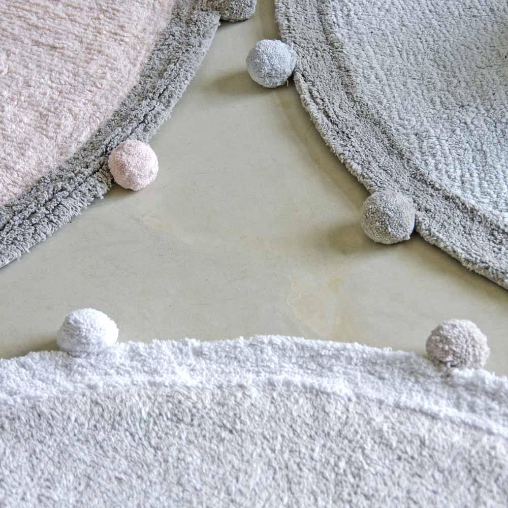 Lorena Canals 柔麗紡 pompom毛球圓毯(蘇打藍)