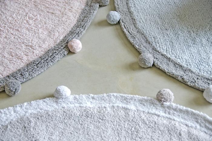 (複製)Lorena Canals|pompom毛球圓毯(杏桃粉)