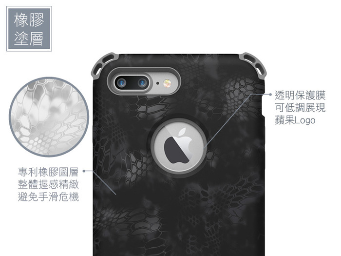 SEIDIO|軍規級四角防摔手機保護殼 for Apple iPhone 7 Plus/8 Plus-DILEXx KRYPTEK(極地雪怪)