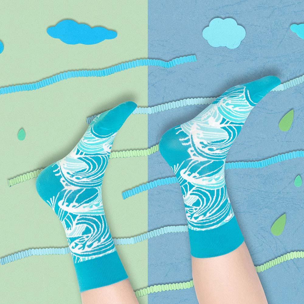 sokker®|浮繪巨浪4分之3襪