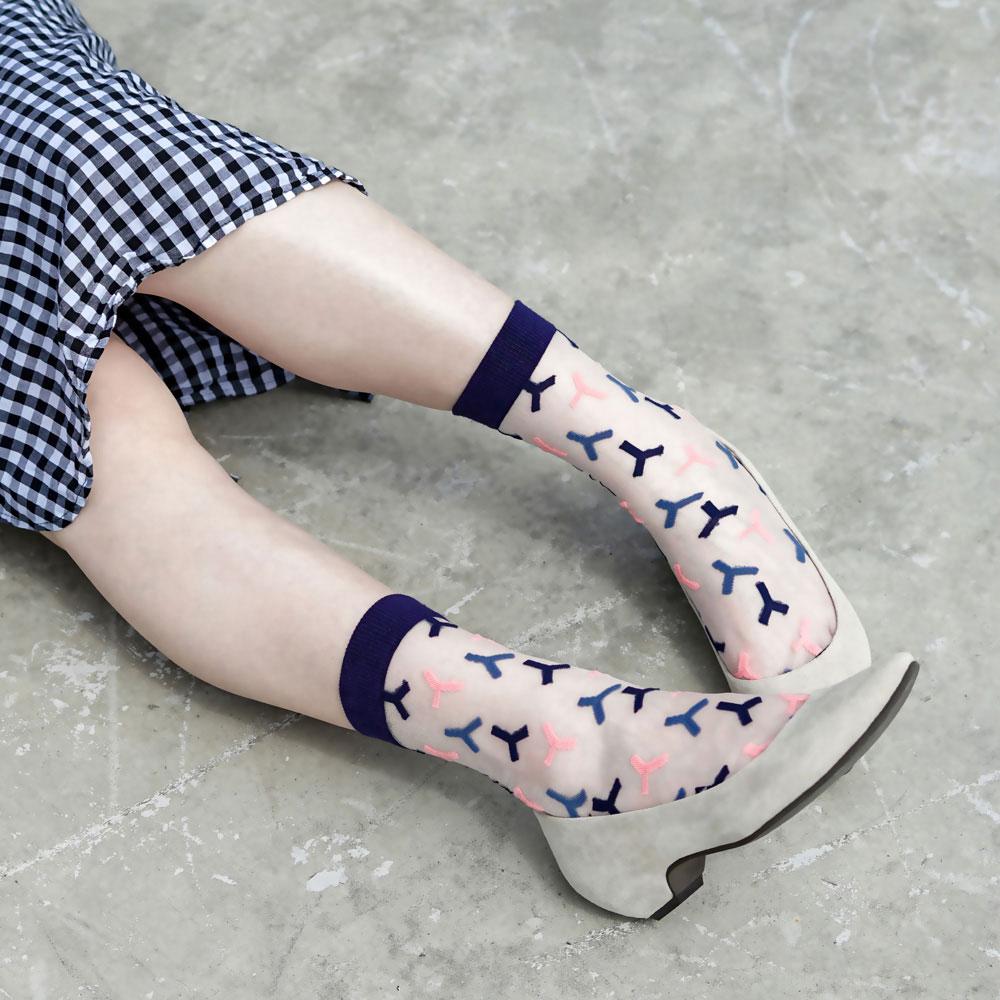sokker®|粉雪夜曲4分之3玻璃襪
