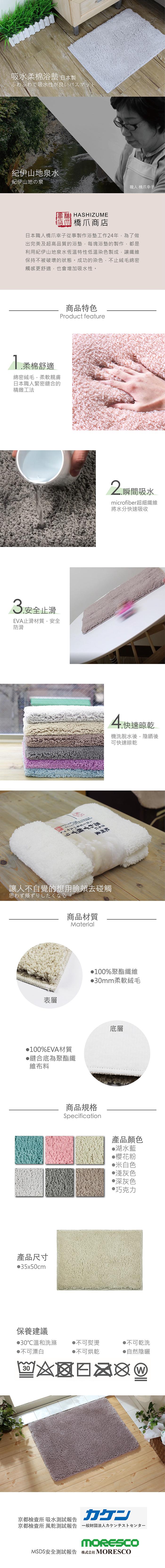 日本品織 |橋爪商店 吸水柔棉浴墊 - 湖水藍