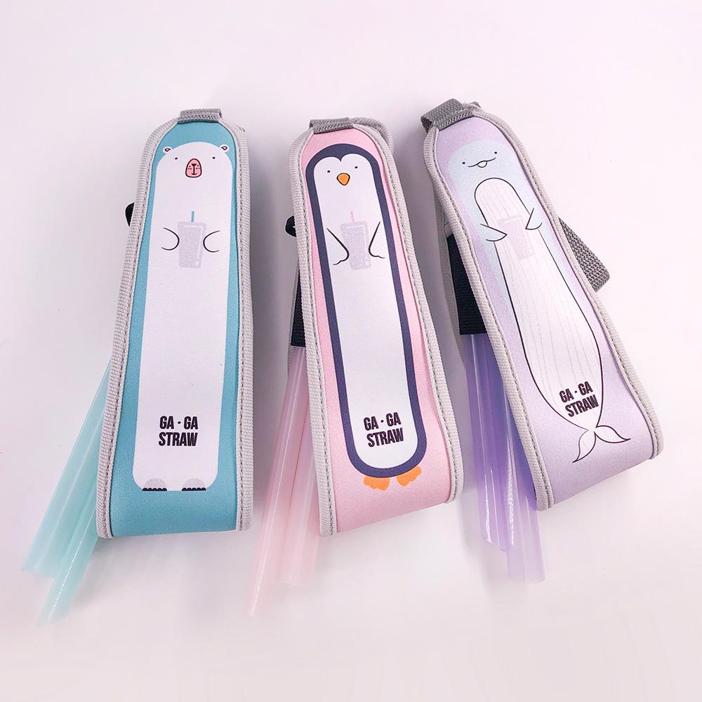 GAGA STRAW 卡卡捲2代-可愛動物杯套吸管2合1隨行套(不含吸管)/企鵝粉紅色