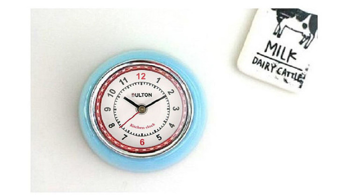 Dulton|復古磁鐵時鐘 黃色