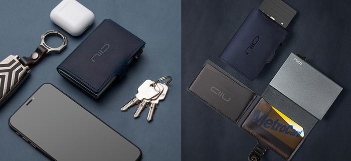 SLIDE Mini Wallet 防盜刷真皮智慧錢包 - 海軍藍