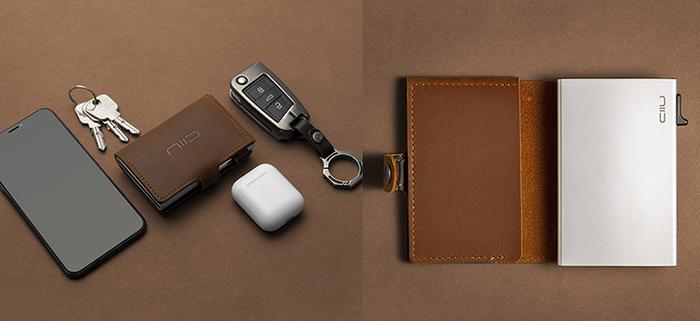 SLIDE Mini Wallet 防盜刷真皮智慧錢包 - 淺棕