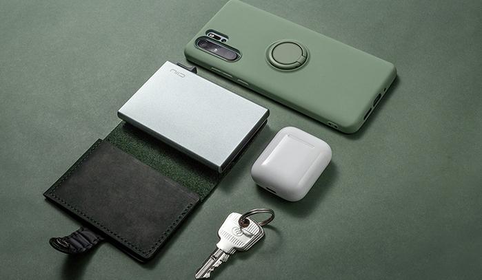 SLIDE Mini Wallet 防盜刷真皮智慧錢包 - 祖母綠