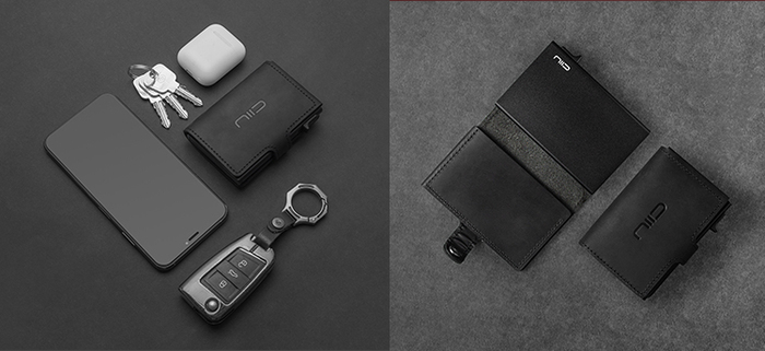 NIID│SLIDE Mini Wallet 防盜刷真皮智慧錢包 - 黑