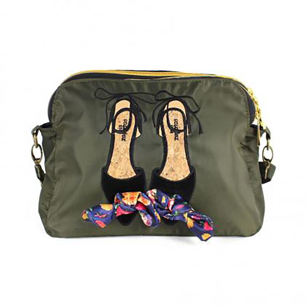 Mis Zapatos|skinny 蝴蝶結綁帶 3way 斜背包 軍綠色
