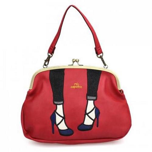 Mis Zapatos|都會交叉高跟鞋3way珠釦包 紅色