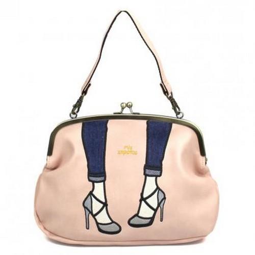 Mis Zapatos|都會交叉高跟鞋3way珠釦包 淡粉色