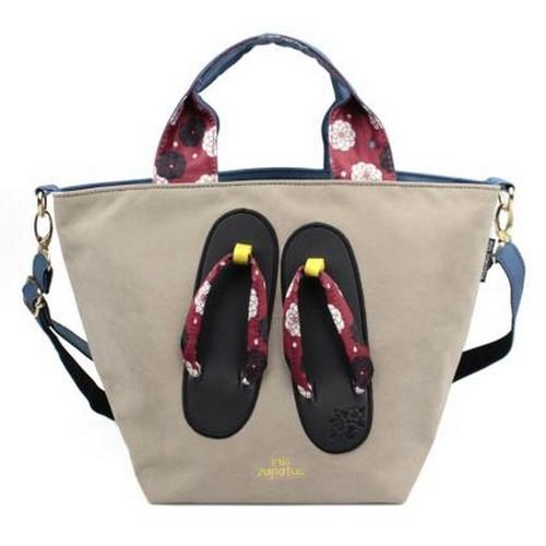 Mis Zapatos 和風繽紛木屐2way包 杏色