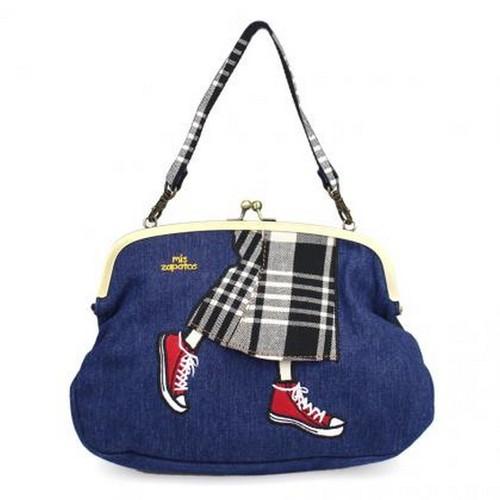 Mis Zapatos|英格蘭格子3way珠釦包 深藍色