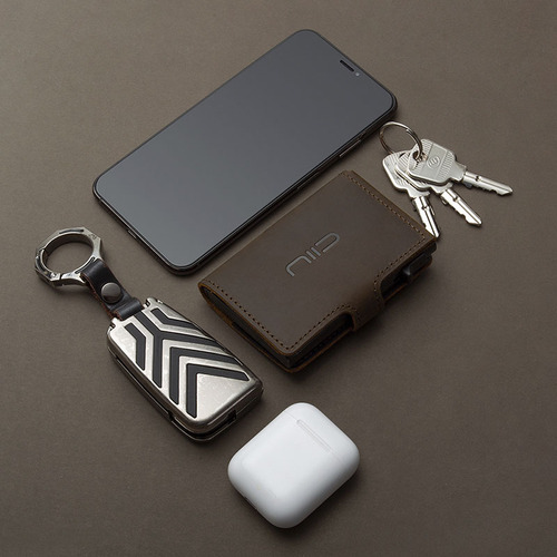 NIID│SLIDE Mini Wallet 防盜刷真皮智慧錢包 - 深棕