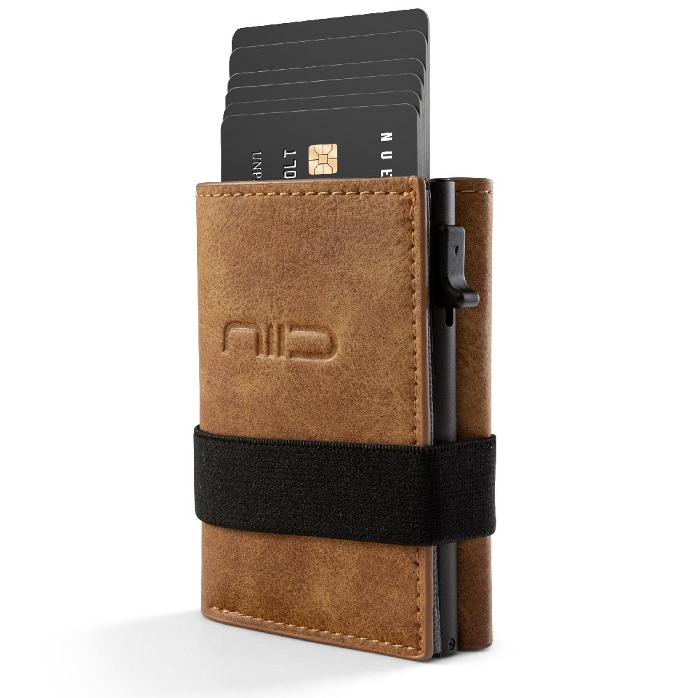 NIID|SLIDE II Mini Wallet 防盜刷科技皮夾 - 黃棕