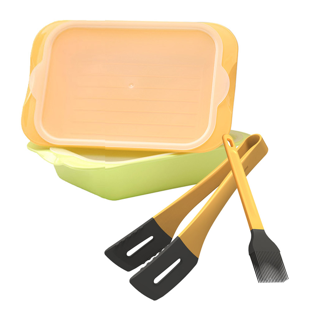 MULTEE摩堤|燒烤工具組_牛排夾+醬料刷+醃漬盒2入