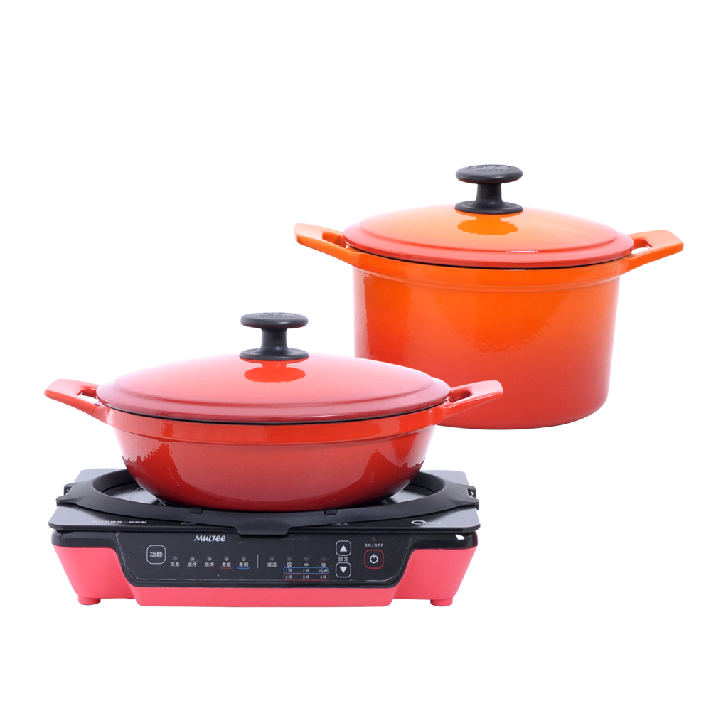 MULTEE摩堤|小資成家E_24紅媽媽鍋+20橘圓鍋+A4PLUS紅IH電磁爐