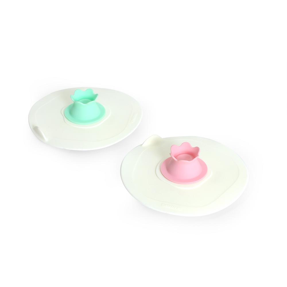 MULTEE摩堤|12cm花朵矽晶杯蓋組_蜜桃粉+薄荷綠