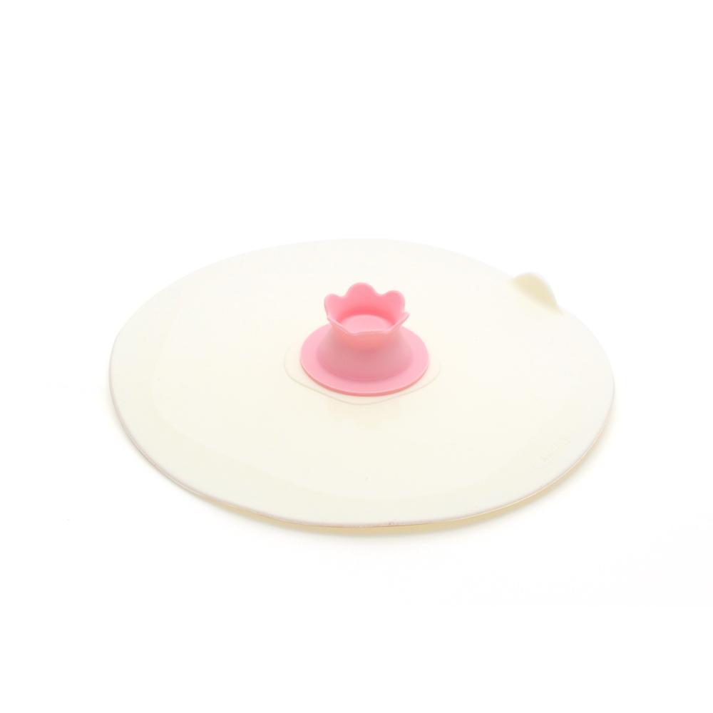 MULTEE摩堤|17cm花朵矽晶盤蓋_蜜桃粉