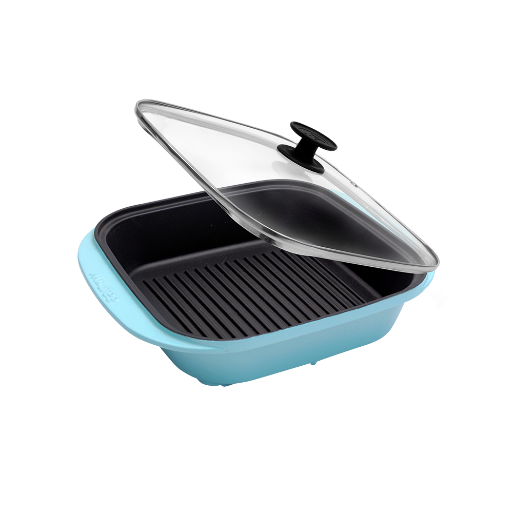MULTEE摩堤 饗宴系列-28cm鑄鐵方型肋烤盤_晶鑽藍