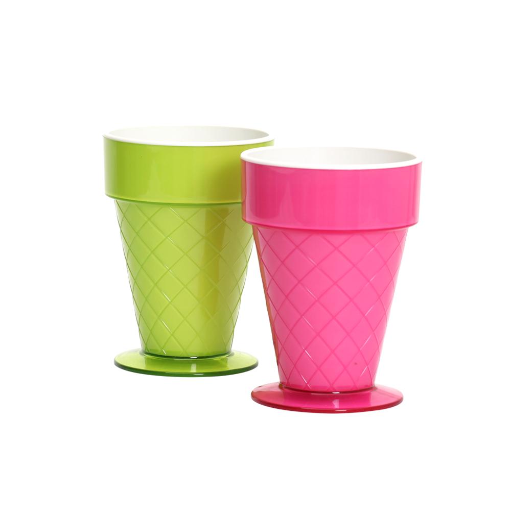MULTEE摩堤 甜筒杯_深粉紅+蘋果綠