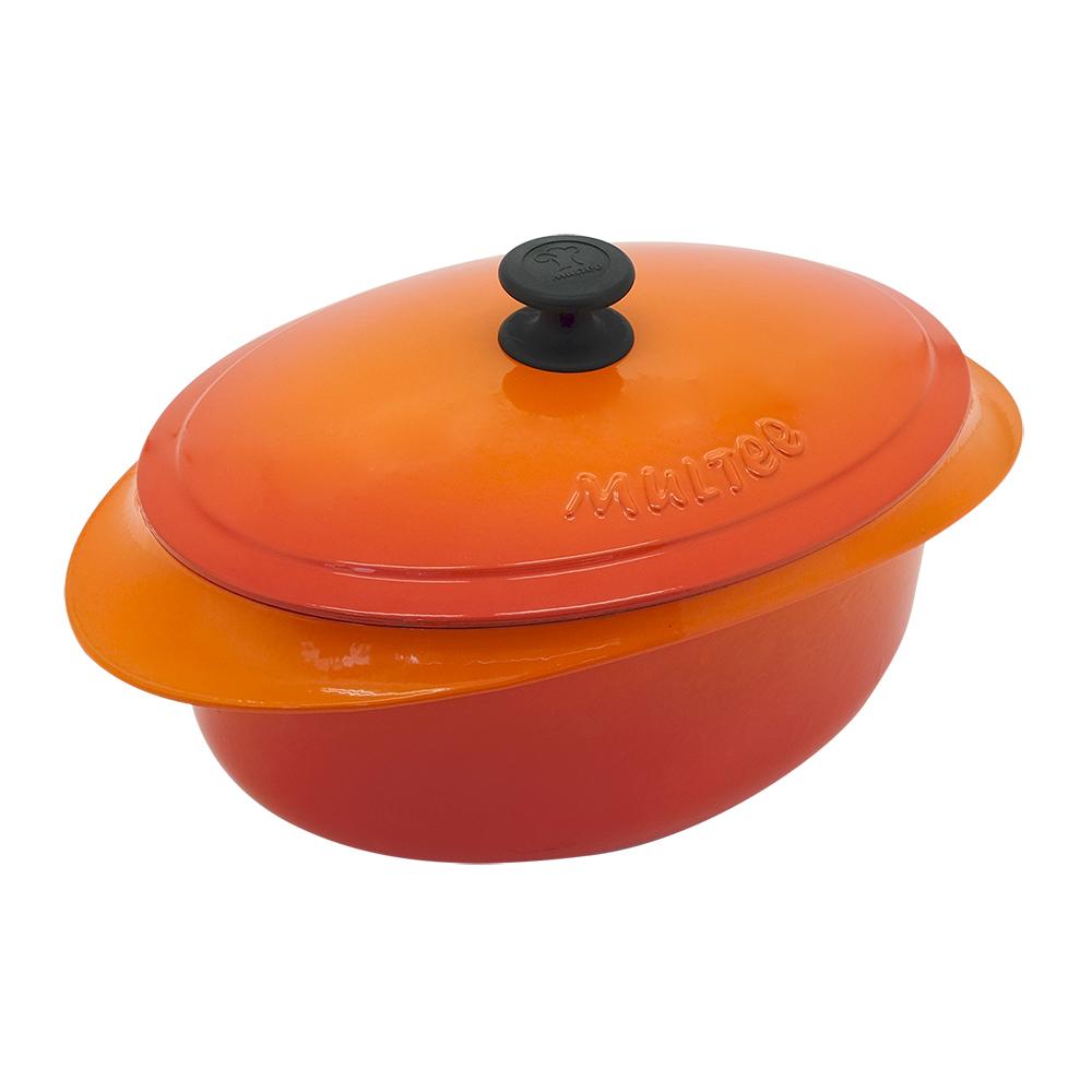 MULTEE摩堤|饗宴系列-32cm鑄鐵橢圓鍋_外亮橘漸層,內霧緞黑