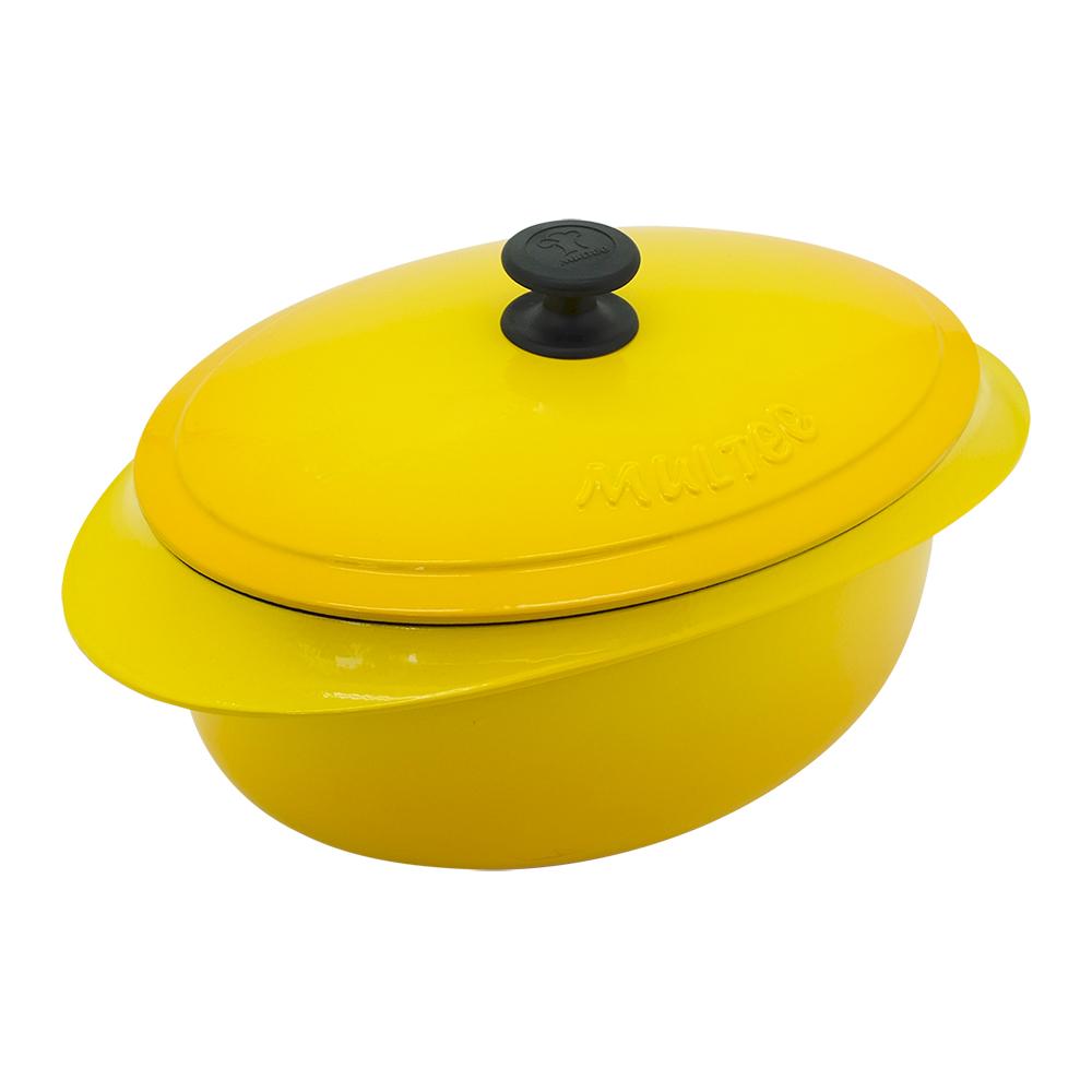 MULTEE摩堤|饗宴系列-32cm鑄鐵橢圓鍋_外亮黃漸層,內霧緞黑
