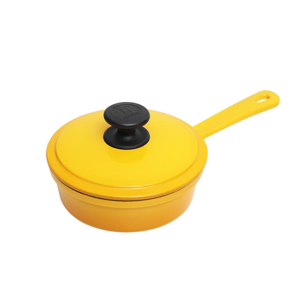 MULTEE摩堤|16cm鑄鐵單柄煎鍋+蓋_外黃漸層