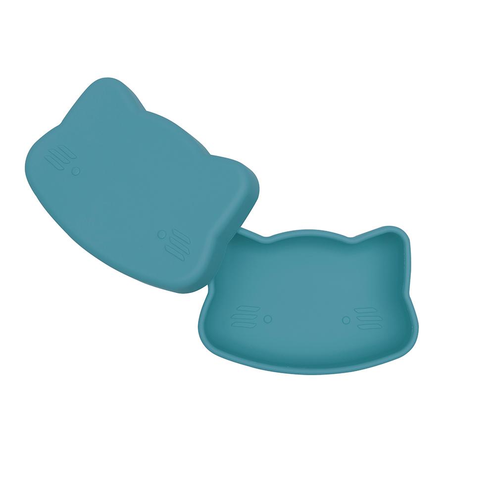澳洲We Might Be Tiny|矽膠防滑便當盒小花貓-孔雀藍