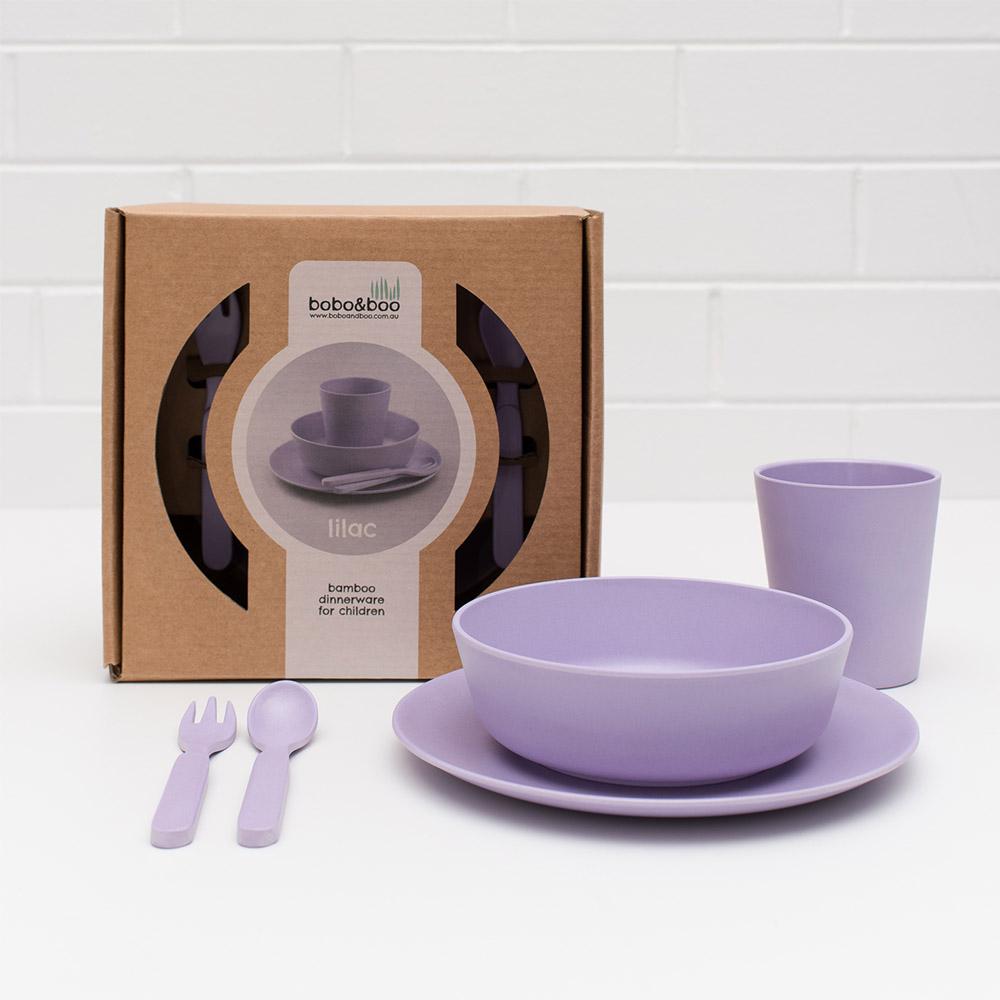 澳洲 bobo&boo | 竹纖維馬卡龍餐具組-薰衣草紫