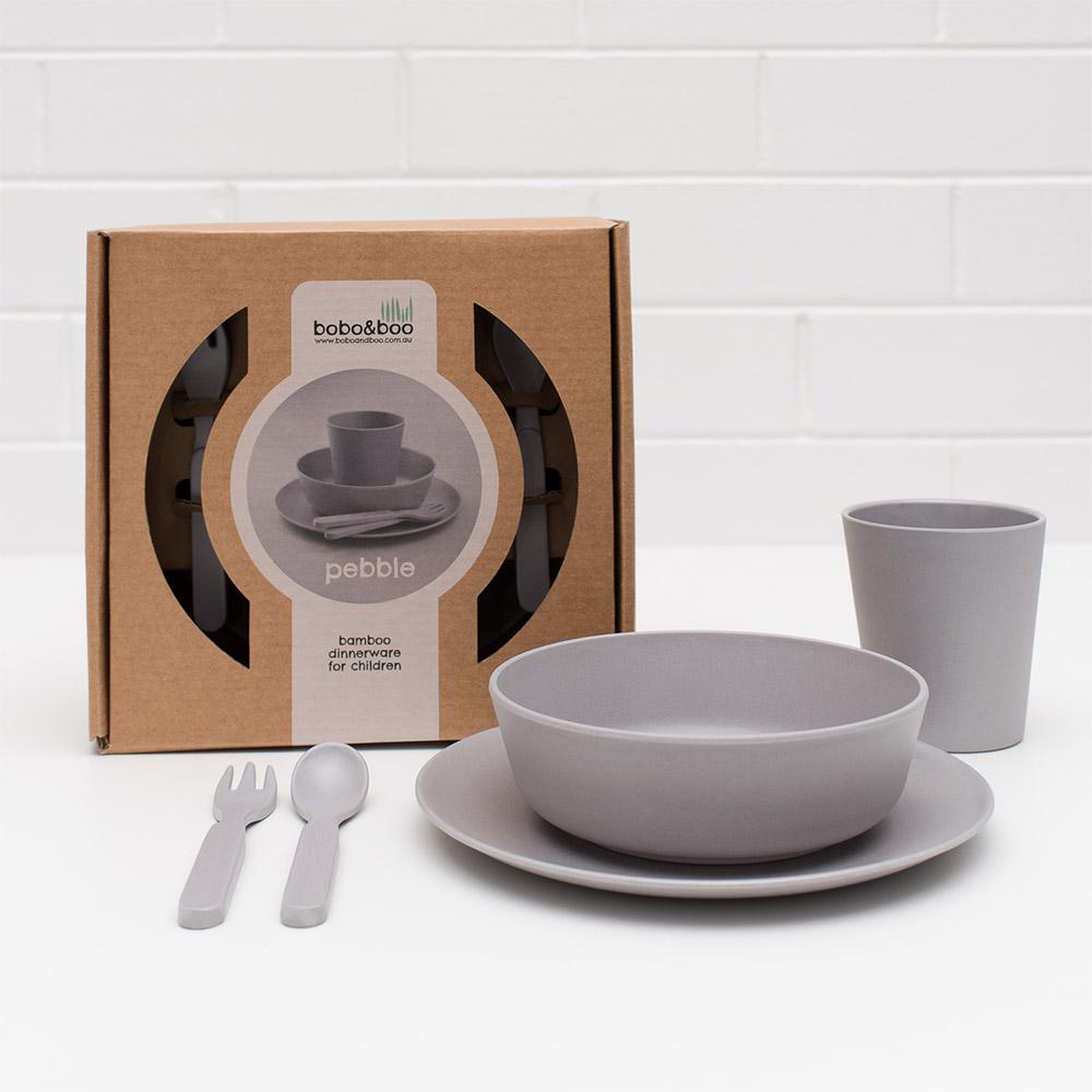 澳洲 bobo&boo | 竹纖維馬卡龍餐具組-霧灰