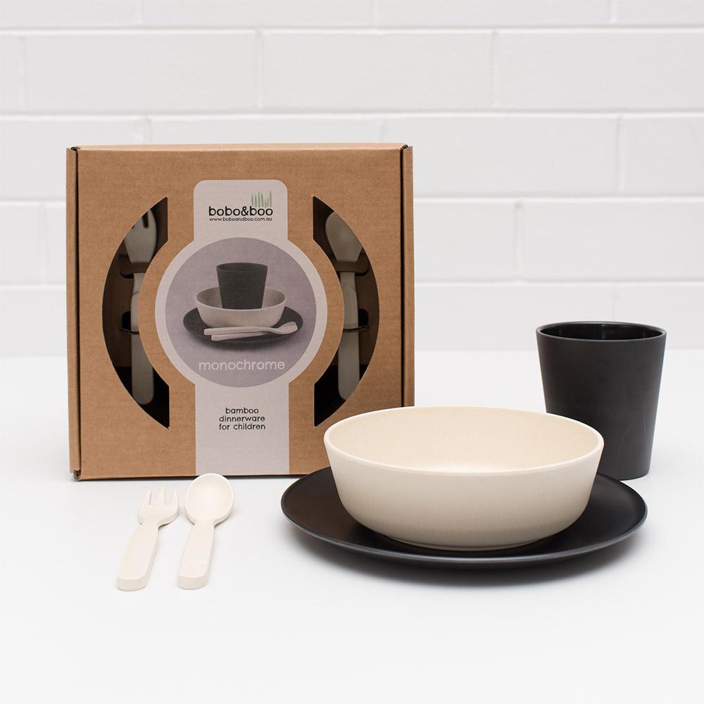 澳洲 bobo&boo | 竹纖維馬卡龍餐具組-黑白不分