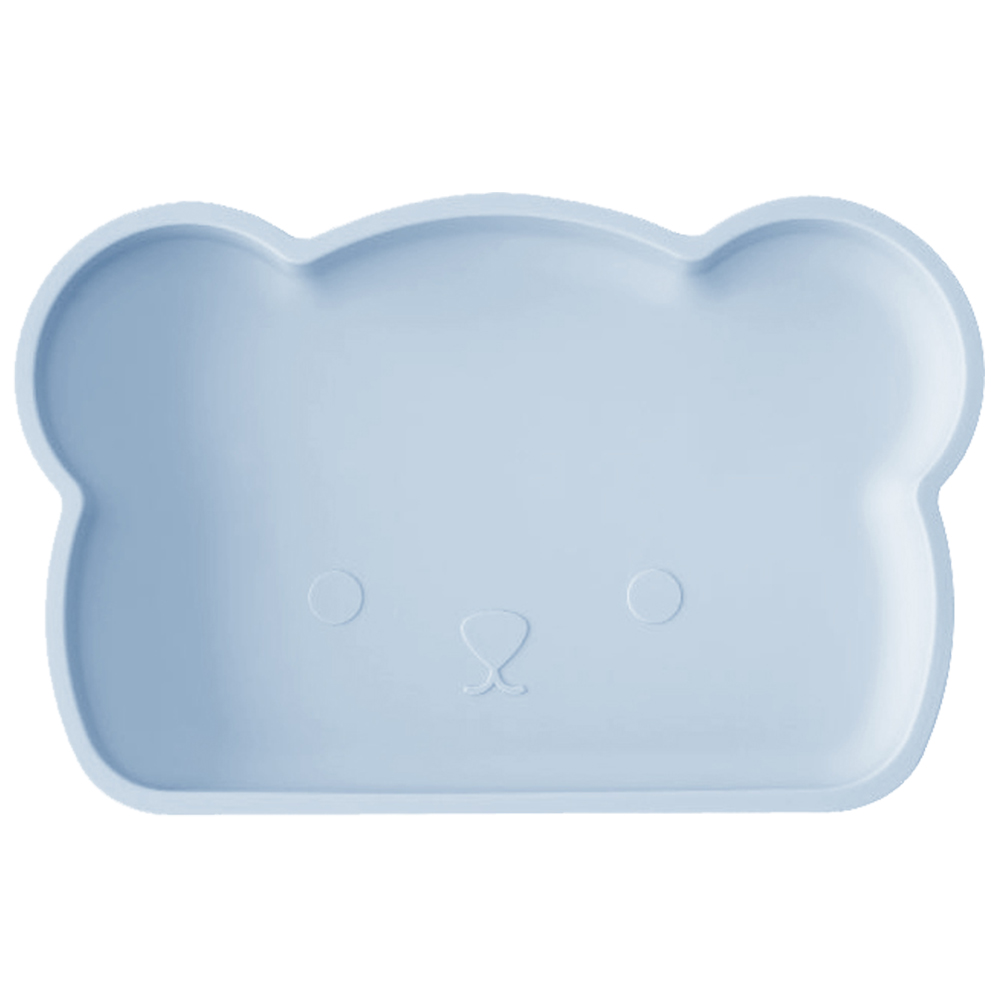 新加坡bopomofo 小熊矽膠餐盤-粉藍