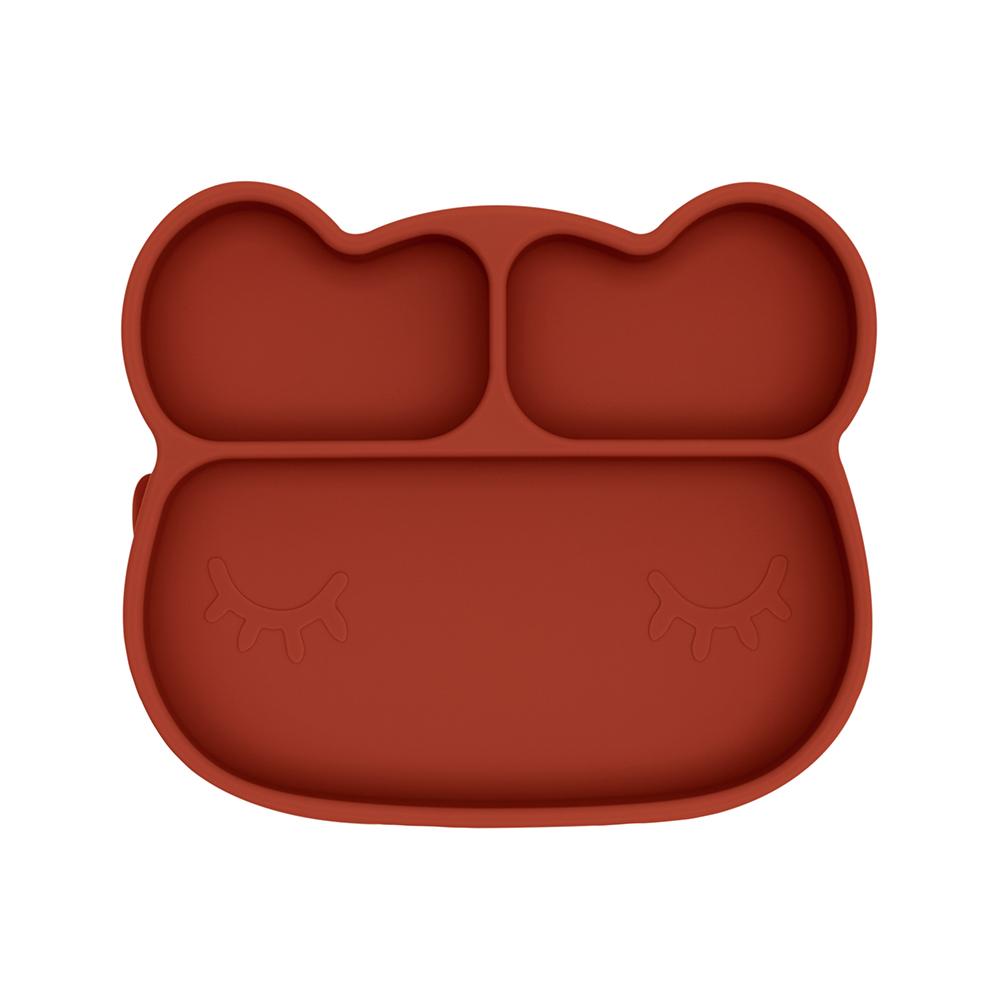 澳洲We Might Be Tiny|矽膠分隔餐盤熊寶寶-鐵鏽橘