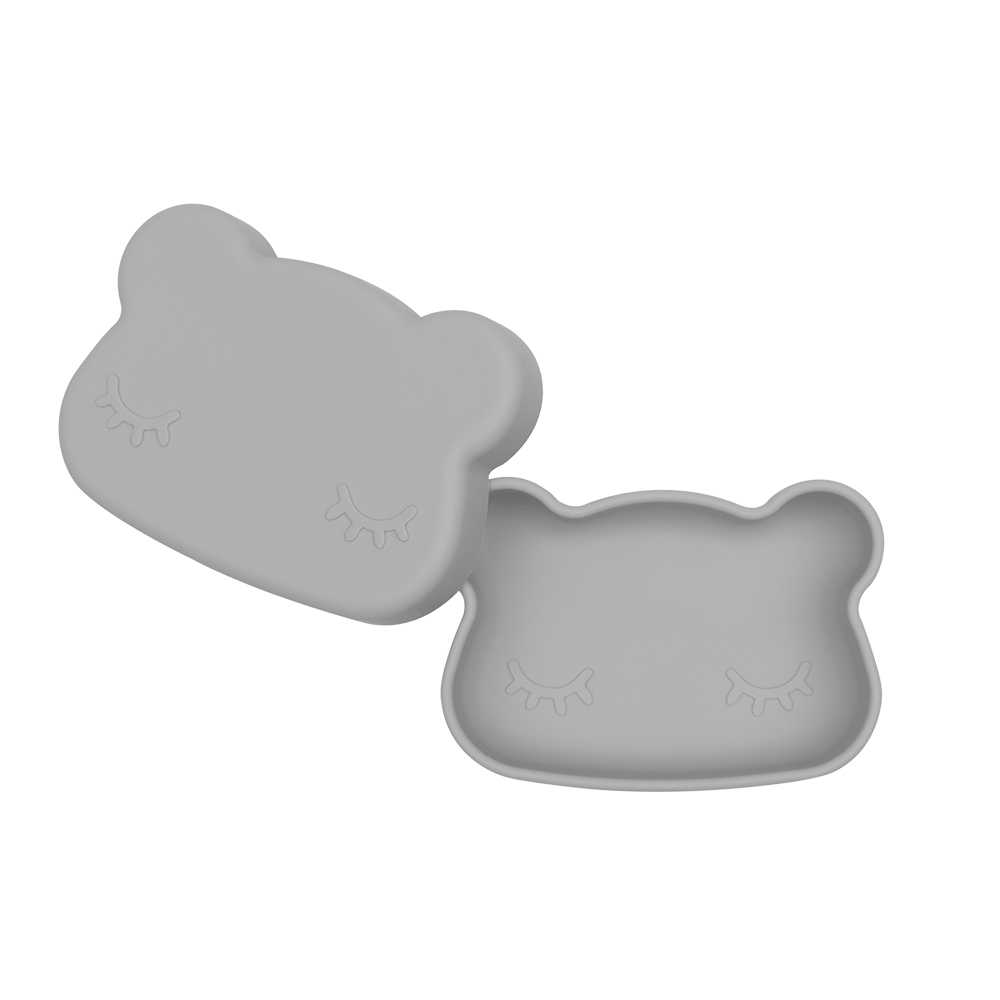 澳洲We Might Be Tiny|矽膠防滑便當盒熊寶寶-深灰